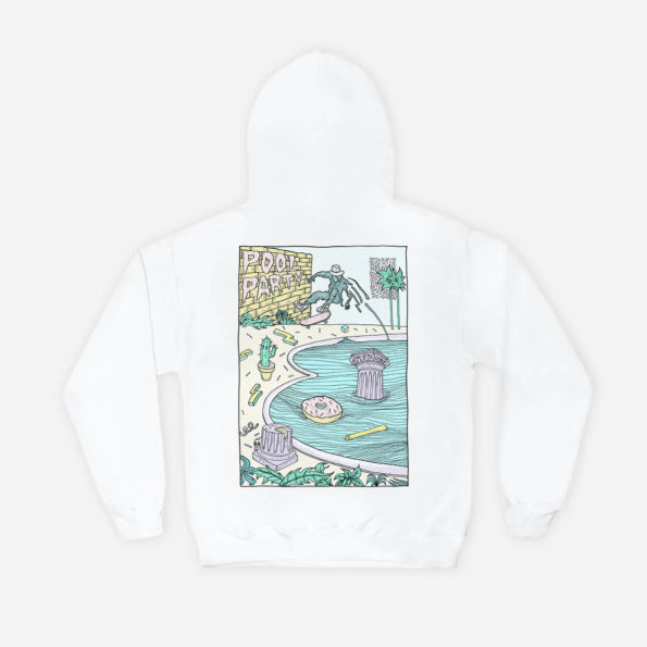 Pool party white hoodie