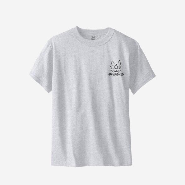 // T-shirt gris coupe old school «Bandit Cat»