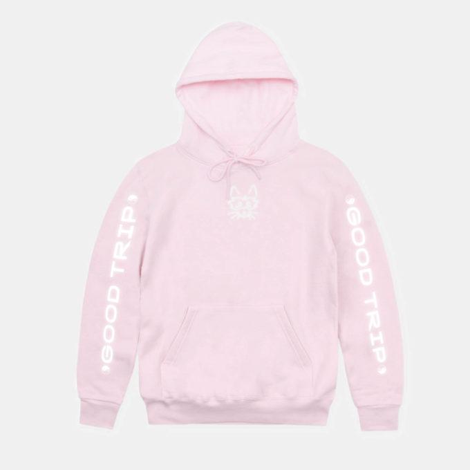 Good trip reflective pink hoodie